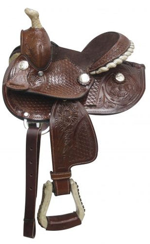 Fully tooled Double T pony saddle