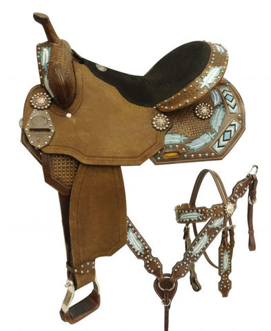"14"" Economy style barrel saddle set with metallic painted feathers and beaded inlay"