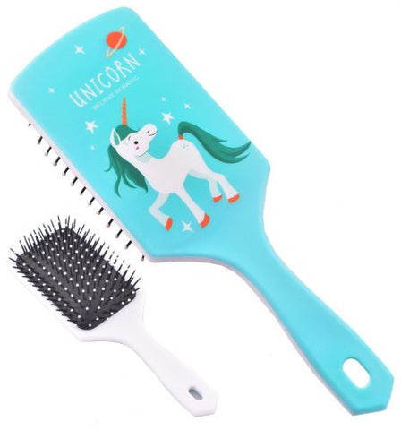"#08014A-6: Teal ""Believe in Magic"" Unicorn Mane and Tail Brush"