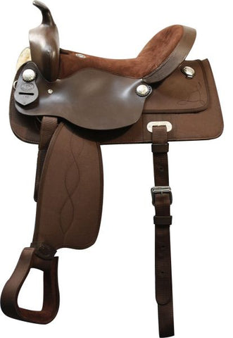 "#081: 15"", 16"", 17"" Double T nylon cordura saddle with suede leather seat and leather jockeys"