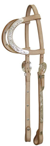 Light Showman ® Leather silver double ear headstall with 7' split reins