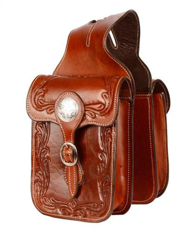 #101HB: Showman® Tooled leather horn bag