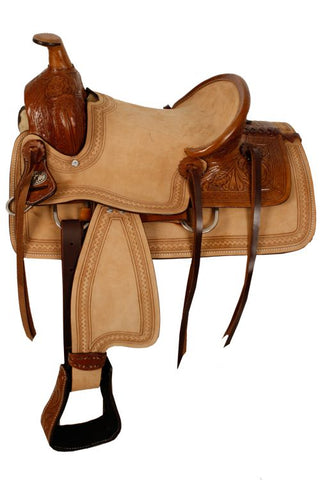 "#10213: 13"" Double T hard seat roper style saddle with acorn tooling"