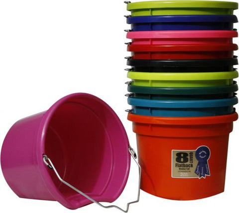 "Blue Qt Flat back bucket, 8.5"" tall"