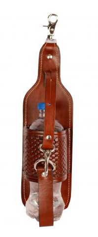 #102BH: Showman® Basketweave tooled leather bottle holder