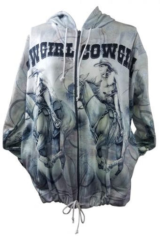 """Wild West Cowgirl"" Hooded Zip up Jacket"