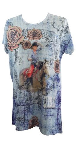 "#1067500: ""Riding Into The Roses"" Round Neck T-Shirt"