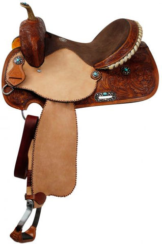 "14"" Double T barrel saddle with silver laced tan rawhide cantle, dot border on rough out fenders and jockeys"