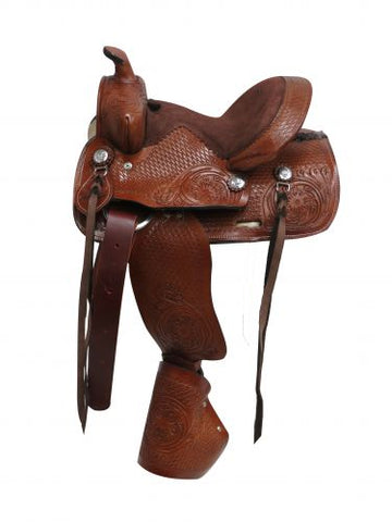 Double T pony saddle with tapedero stirrups