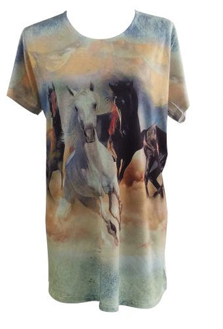 """Wild and Free"" Running Horse Round Neck T-Shirt"