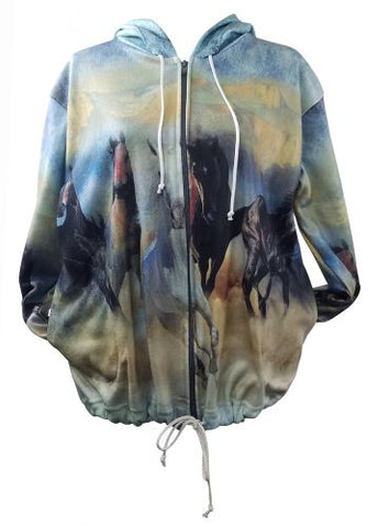 "#11826000: ""Wild and Free"" Running Horse Hooded Zip up Jacket"