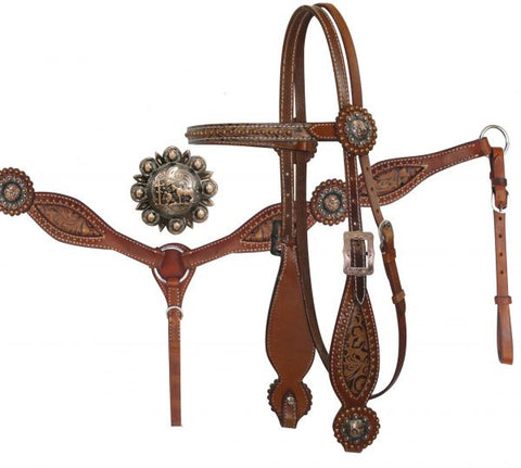 Medium Showman ® Headstall and Breast Collar Set with Brown Filigree Inlay and Praying Cowboy Conchos