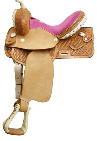 "12"" Pink Circle S Square Skirted Barrel Style Saddle"