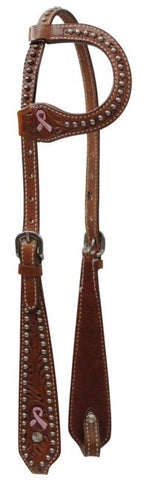 Showman ® One Ear Headstall with Painted Pink Ribbon