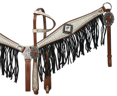 #12915: Showman ® Medium leather headstall and breast collar set with silver and white filigree ove