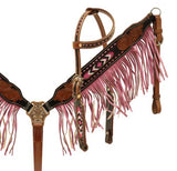 Pink Showman ® Black and medium leather headstall and breast collar set with beaded inlay and suede fringe
