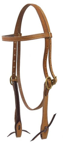 #12994: Showman ® Argentina cow leather headstall with solid brass buckles leather tie bit loops