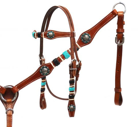 Showman ® Braided rawhide headstall and breast collar set