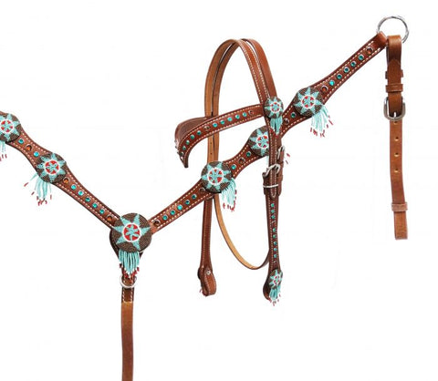 #13205: Showman® Headstall and breast collar set with beaded dream catchers