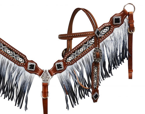 Showman® Black and white beaded headstall and breast collar with ombre fringe