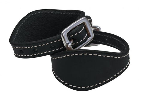 Black Stitched leather stirrup hobbles
