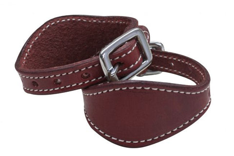Burgundy Stitched leather stirrup hobbles