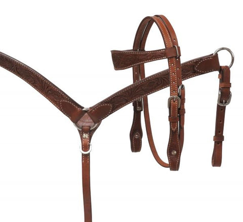 #13612: Showman ® MINI floral tooled headstall and breast collar set