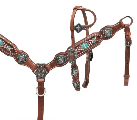 #13654: Showman ® PONY One ear headstall with teal beaded inlay