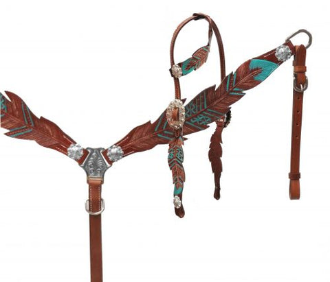 #13689: Showman® Cut- out teal painted feather headstall and breast collar