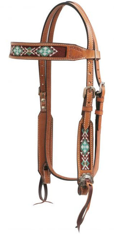 #13740: Showman ® Light chocolate Argentina cow leather headstall with beaded inlays