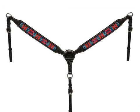 "Showman ® 1.75"" wide dark chocolate Argentina cow leather breast collar with beaded inlay"