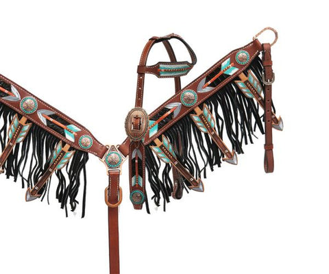 #13782: Showman ® Cut-out arrow design headstall and breast collar set