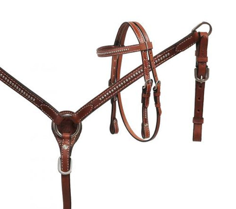 #13793: Showman® Mini Size Medium leather headstall and breast collar set with silver studs