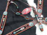#13850: Showman ® 4 Piece beaded arrow headstall and breast collar set