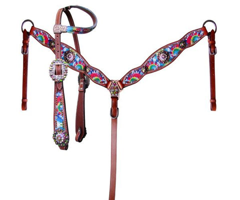 #13909: Showman ® Rainbow tie dye one ear headstall and breast collar set