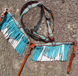 #13928: Showman ® Turquoise and White leather laced browband headstall and breast collar set
