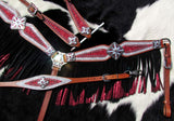 #13950: Showman ® 4 Piece Red and Silver Glitter overlay single ear leather headstall and breast co