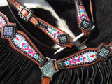 #13979: Showman ® Pony Size Pyschedelic Tie Dye browband headstall and breast collar set with black