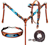 #14024: Showman ®  Beaded Aztec 4 Piece Headstall and Breastcollar Set