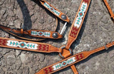 #14032: Showman® Argentina Cow Leather 3 Piece Headstall and breast collar set with navajo beaded i