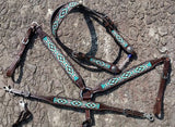 #14036: Showman® Argentina Cow Leather 3 Piece Headstall and breast collar set with navajo beaded i