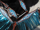 #14042: Showman ® PONY SIZE Rainbow Unicorn print headstall and breast collar set