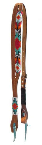 #14065: Showman ® Argentina cow leather split ear aztec beaded headstall
