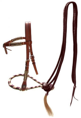 #14099: Showman ® leather futurity knot headstall with brown rawhide braided bosal and brown nylon