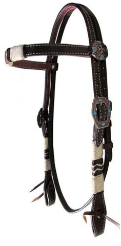 #14115: Showman ® Double stitched Argentina Leather browband headstall with rawhide braiding
