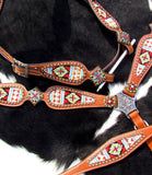 #14117: Showman ®  Multi Colored beaded browband headstall and breast collar 4 piece set