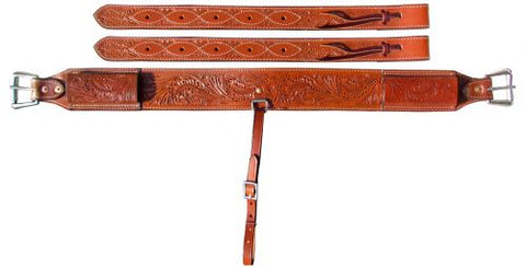 "#14464: Showman ® 3"" wide Accorn Tooled Leather back cinch with roller buckles"