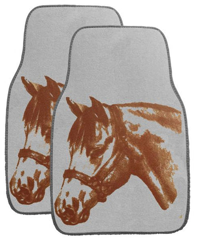 "Gray X 17"" Equine floor mats for car or truck"