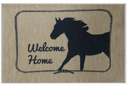 "#1537: 27"" x 18"" Welcome Home mat with running horse"