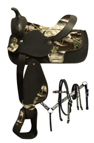 Natural Double T Synthetic saddle with camo print seat and accents